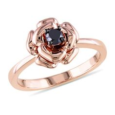 1/4 CT. Enhanced Black Diamond Solitaire Rose Ring in Rose Sterling Silver