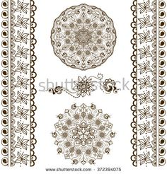 Vector set of hand drawn decorative elements in ethnic Indian style. Collection of pattern brushes inside. Mehndi ornamental borders, pattern and mandalas. Henna design theme - stock vector