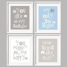 You Are My Sunshine - Blue and Gray Nursery Prints/ Elephant and bird -  8x10 - baby shower gift, for boy or girl. $59.95, via Etsy.