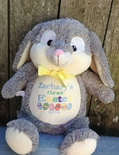 Personalized baby gift easter bunny rabbit birth announcement monogrammed baby gift embroidered cubbies gray bunny birth announcement nursery decor baby boy baby girl grey rabbit easter bunny negle Images