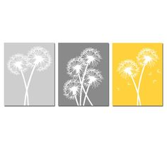 Modern Dandelion Trio, Set of Three Dandelion Prints or Dandelion Canvas Art Floral Coordinating Prints, Set of 3 Dandelion Wall Art Prints Grey Yellow, Mellow Yellow, Aqua Blue, Yellow Gray Bedroom, Purple Lilac, Blue Ombre, Bright Yellow, Nursery Canvas, Canvas Art