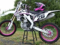 uhh son two two motor sports! Motorcross Bike, Bmx, Motocross Helmets, Triumph Motorcycles, Custom Motorcycles, Dirt Bike Gear, Dirt Biking, Pink Dirt Bike, Ducati