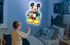 Loving this Mickey Mouse Wall Friends Talking Light on Night Light, Light Up, Mickey Mouse, Wine Stand, Great Night, Vinyl Wall Art, Decorative Items, Diy Projects, Wall Decor