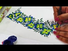Beautiful Border Painting Design using One Stroke technique Saree Painting Designs, Fabric Paint Designs, Stencil Designs, Fabric Design, Bed Sheet Painting Design, Stencil Painting, Stencil Fabric, Easy Flower Painting, Basic Painting