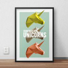 Run free like unicorns - DIGITAL POSTER - A3 - Instant download jpg. Printable poster