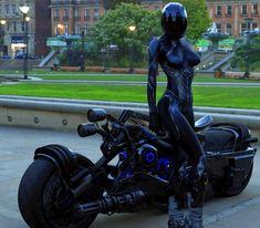 Futuristic bike and body paint