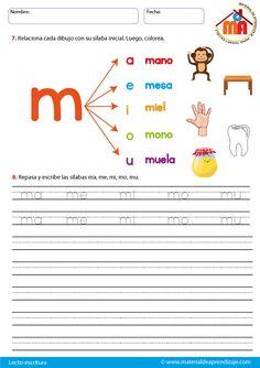 La letra m Preschool Letter M, Letter M Activities, Preschool Learning Activities, Teaching Kids, Kids Learning, Learning Spanish, School Resources, Teacher Resources, Spanish Lessons For Kids