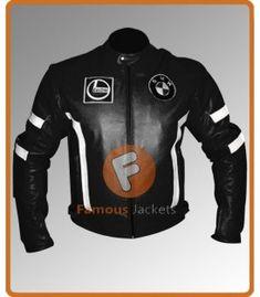 BMW Black Leather Biker Jacket With White Stripes