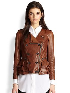 leather ruffle jacket. gorgeous!