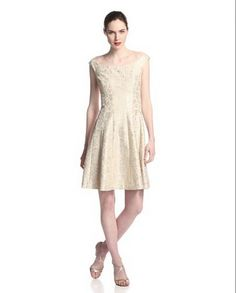 cd6dff7877b Kay Unger NWT Women s Lace Fit-and-Flare cocktail Dress ivory   gold size 14