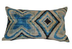 "Orientalist Home | Destan Silk Pillow, Blue | solid linen back | feather/down insert | made in Turkey | 16"" x 24"" | $400.00 retail"