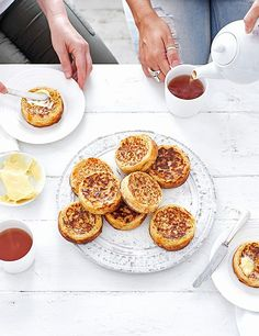 Crumpet Recipe with Cheese How do you make fresh crumpets taste even better? Add three types of cheese, a teaspoon of mustard powder and slather on a good helping of butter of course! Dessert Recipes, Desserts, Scone Recipes, Savoury Recipes, Bread Recipes, Breakfast Recipes, Healthy Recipes, Cheese Recipes, Cooking Recipes