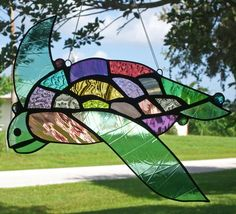 TOMMY the SEA TURTLE stained glass hanging window panel, via Etsy.