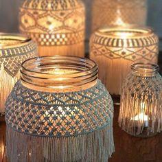 Macrame jars, Macrame Candleholders, Macrame Container, Macrame Decor