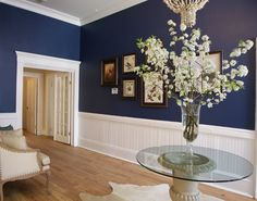 Benjamin moore - newburyport blue wnętrza w 2019 инте Dining Room Blue, Dining Room Colors, Dining Room Walls, Living Room, Ikea, Room Paint, Entryway Paint, Blue Walls, Blue Rooms
