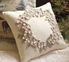 wreath embroidered pillow $45 @potterybarn