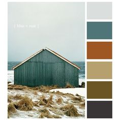 Colour palette: Iced blue, muted teal, copper, dark cream, moss green/brown and dark grey | See more about Rust, Color Palettes and Colour Palettes.