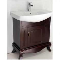 "30"" vanity with espresso solid wood and ceramic sink is classy and a great addition to a second bathroom or small main! Model vp310 Regular $499 Sale $299; faucet extra"