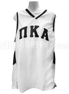 Pi Kappa Alpha Greek Letter Basketball Jersey, White  Item Id: PRE-BSKTBL-BASIC-LTR-WHT  Price:  $49.00