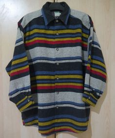 vintage UNITED COLORS OF BENETTON multi color WOOL striped shirt MADE IN ITALY #UnitedColorsOfBenetton