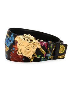 Versace Men's Floral-print Medusa-buckle Belt In Black Hot Gold Burberry Men, Gucci Men, Versace Mens Belt, Fashion Belts, Mens Fashion, Fashion Outfits, Versace Men Cologne, Luxury Belts, Donatella Versace