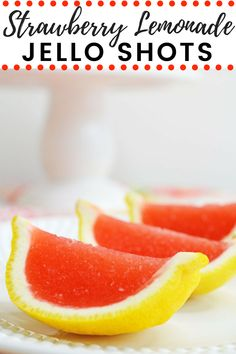 Strawberry lemonade jello shots made with vodka and served in lemon wedges. Don't be fooled -- these lemon wedge jello shots are actually very easy to make! Lemonade Jello Shots, Easy Jello Shots, Jello Shot Recipes, Easy Drink Recipes, Best Cocktail Recipes, Sangria Recipes, Strawberry Lemonade, Alcohol Recipes, Summer Recipes