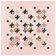 Pink & brown quilt.