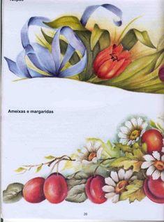 Pintura em tecido ameixas e margaridas- riscos e dicas de cores