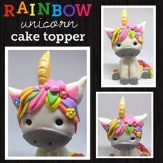 Unicorn cake topper fondant cake topper birthday cake by SEtoppers
