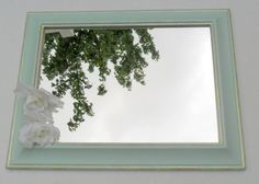 Mint green and gold glitter large hanging mirror by JanaLynnOriginals