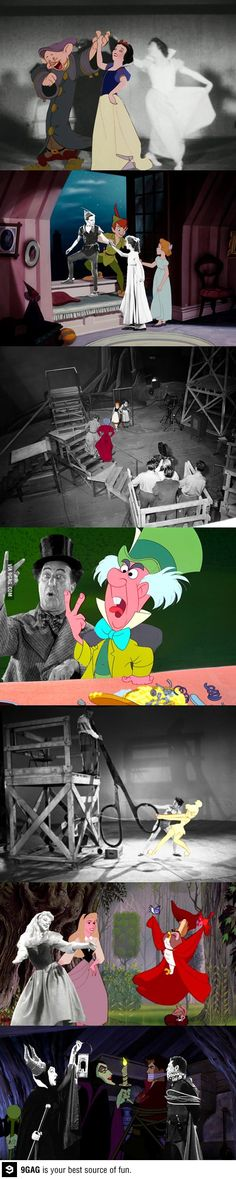Disney animation scenes composited with actors posing for reference.