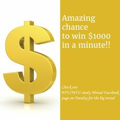 Big news coming up!! Amazing chance to win $1000 in less than a minute!! Check out WIU / WIU Study Abroad - Facebook page on Tuesday for the big reveal. A chance you don't want to miss!! #RockyGoesAbroad #Scholarship #Freemoney #WIU