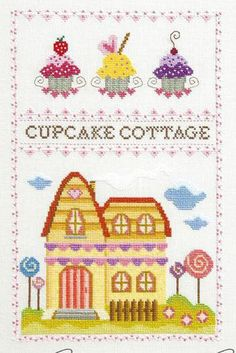 Cupcake Cottage - Cross Stitch Pattern - Mary Maclenon -Turley M. Designs