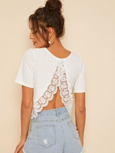 To find out about the Solid Guipure Lace Hem Top at SHEIN, part of our latest T-Shirts ready to shop online today! Backless Top, Lace Insert, Neck Pattern, T Shirts For Women, Clothes For Women, Lace Sleeves, Lace Fabric, Latest Fashion For Women, Fashion Outfits