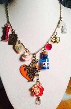 Alice in Wonderland and Through the Looking Glass Charm Necklace Disney Jewelry Queen of Hearts Cheshire Cat Mad Hatter Red Queen White Knight White Rabbit