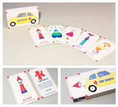 Clown University business cards and business card holder from SDPS student Nichol DeRosier
