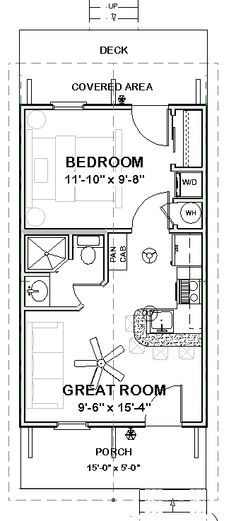 Granny pods guest houses Custom Tiny House Home Building Plans 1 bed Cottage 390 sf --- PDF file Cottage Floor Plans, Small House Plans, House Floor Plans, Guest Cottage Plans, Small Guest Houses, Tiny House Trailer Plans, Tiny Cabin Plans, 20x30 House Plans, Tiny Guest House
