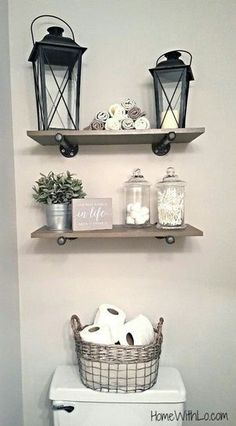 Rustic bathroom decor #bathroom #rustic #shelves #homedecor #storage #ShopStyle