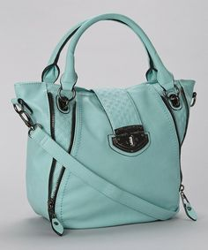 Seafoam Quilted Vegan Leather Tote