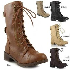 Womens Military Combat Boot Motorcycle Riding Lace Buckle Zipper Soda Shoes Dome | eBay - Black, size 11, $38.99