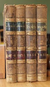 Collection-of-4-Punch-Books-Politics-John-leech-Illustrated-Leather-1847-1855