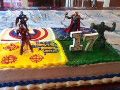 The Avengers cake. School Birthday, Boy Birthday, Avenger Cake, Birthday Party Themes, Birthday Cakes, Birthday Ideas, Avengers Birthday, Man Party, Superhero Party