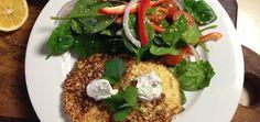 Breakfast With Jon: Shrimp Cauliflower Pancakes Over Salad