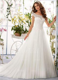 Bröllopsklänningar - $251.58 - A-linjeformat Rund-urringning Chapel släp Tyll Spetsar Bröllopsklänning (0025091375)