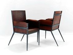 Steel and Leather Chairs in the Style of Jean Michel Frank