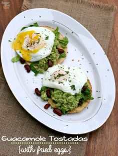 Quick and easy dinner: Guacamole Tostadas with Fried Eggs » Super Glue Mom #vegetarian #30minmeal