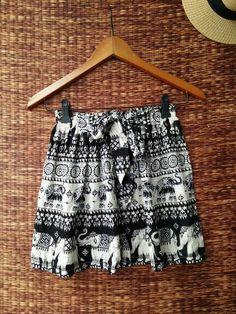Black Boho Shorts Elephants print Cotton Gypsy by TribalSpiritShop