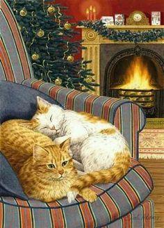 Christmas Scenes, Christmas Animals, Christmas Cats, Christmas Greetings, Illustration Noel, Christmas Illustration, Illustrations, Cat Cards, Christmas Paintings