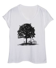 This White Tree And Bike Silhouette Tee - Plus is perfect! #zulilyfinds