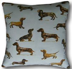 Designer Cushion Covers Daxi Dachshund Tan Dogs Brown Scatter Throw Pillows